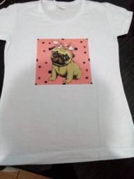 Blusa estampa cachorro camiseta feminina