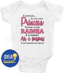 Body Bebê Infantil Sou Uma Princesa Mamãe Uma Rainha E Papai Um Homem De Sorte