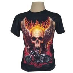 Camiseta camisa moto com caveira arte frente e verso lançamento de 59,90 por 39,90