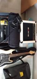 Guitarra, pedaleira e amplificador