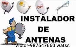 Instalador de antena e configuração de roteadores
