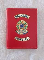 Porta documentos em couro para Bacharel de Direito (brasão)