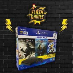 PlayStation 4 slim (1TB) Novos lacrados + 3 jogos