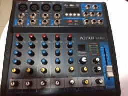 Mesa de som 6 canais Bluetooth USB 16 efeitos
