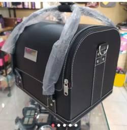 Nova na caixa maleta de maquiagem profissional em couro