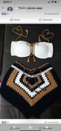 Top e cropedd de Crochê tamanho médio 36/38
