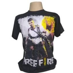 Camiseta free fire lançamento arte frente e verso  de 59,90 por 39,90