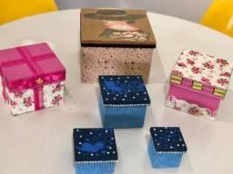 6 Caixas decoradas em Mdf Tudo por 80