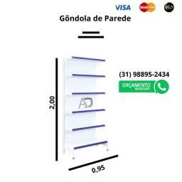 Gondola de Parede inicial 2.00 ALT.  Gôndolas novas. Gondulas de Aço.