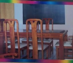 Jogo de mesa c cadeiras em cerejeira