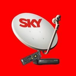 kit completo sky pré pago hd