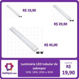 Título do anúncio: Luminária LED Tubular de sobrepor | 10W, 18W, 20W e 40W | Branco Frio