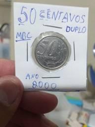 50 centavos ano 2000 centavos e o numero 5 duplo