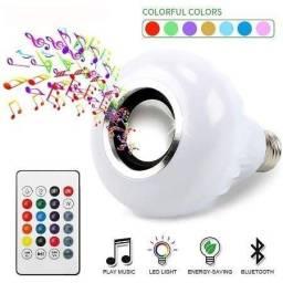 Lâmpada Rgb Colorido Caixa Som Bluetooth Mp3 Controle 2 E 1