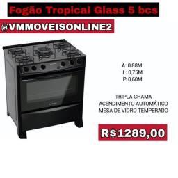 Fogão Tropical Glass 5 bocas