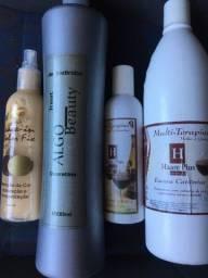 Kit escova cationica, hidratação e cauterização