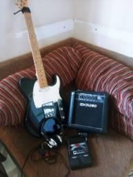 Guitarra Tagima mod. MG52 Telecaster, Cubo, Pedaleira, cabos e fone