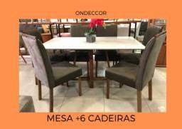 Mesa +6 cadeiras suede