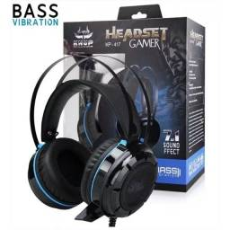 Headset Gamer  7.1 Led Iluminação USB + P2 Bass Vibration Knup KP-417 - Loja Natan Abreu