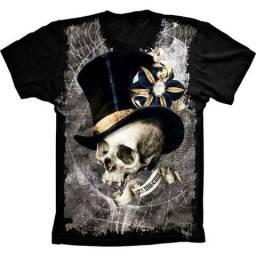 Camiseta Skull Caveira Cartola Masculino Feminino Infantil