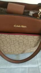 Bolsa feminina de couro Calvin Klein