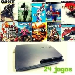 PS3 utra slim - destravado + 24 jogos aceito ofertas