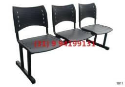Cadeira Longarina Recepção 3 Lugares - Frete Gratis - Novas