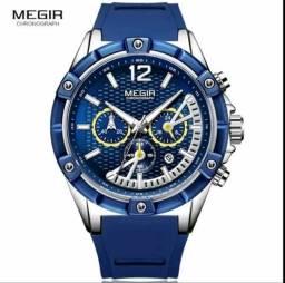 Relógio Masculino Megir Original Multifuncional Silicone azul