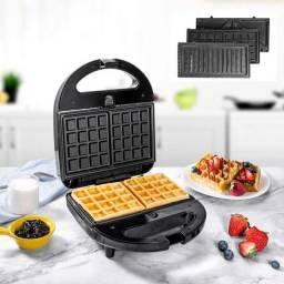 Multigril 3 Em 1: Torradeira Maquina Waffle e Gril com 3 Placas Removíveis Intercambiáveis
