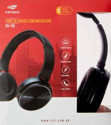 Headset c3tech com microfone dobrável preto - PH-110bk- NOVO