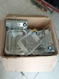 Fritadeira Industrial 2 Cubas 10 L Óleo Aço Inox 6000w Elétrica