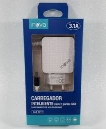 Carregador Rápido INOVA 3.1A para Celulares Samsung, Motorola, e outros