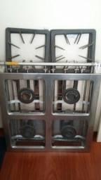 Fogão industrial 04bocas duplas inox 40x40 Metalmaq