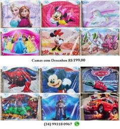Cama Infantil com Desenho Vários Temas, em Madeira, Novas Embaladas