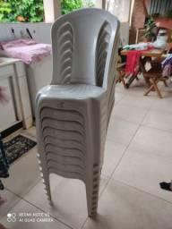 Cadeira Plastico Branca Empilhável -09 Cadeiras