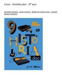Livro de História 9 ano, editora Saraiva