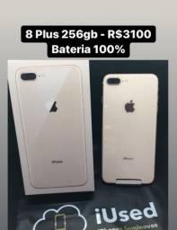 iPhone 8 Plus 256gb - Bateria 100% - Aceito seu iPhone e Cartão