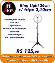 Ring Light 26cm com tripé 2,10cm - Completo
