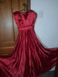 Vestido vermelho tomara que caia longo