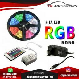 Título do anúncio: Fita de Led RGB modelo 5050 Rolo 5M 300 Leds prova D'agua +controle