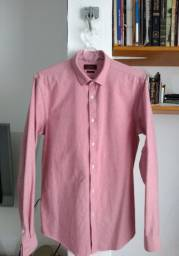 Camisa de Estrutura Oxford Zara Man - Slim Fit M - Seminova