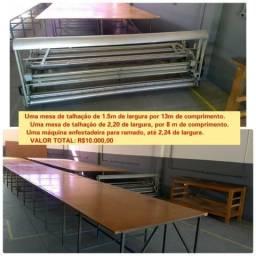 Enfestadeira, mesas, bancadas e prateleiras para talhação ou confecção