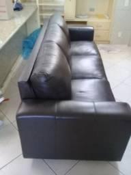 Sofas de 2 e 3 lugares em Couro Sintético Marrom Escuro