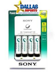 Carregador Sony + 4 Pilhas Aa Recarregaveis 2500 Mah