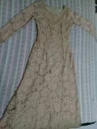 Vestido longo bege