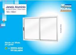 Janela Aluminio de Correr - Pintura Branca -2 folhas