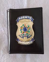 Porta documentos em couro para Agente Segurança (emblema)