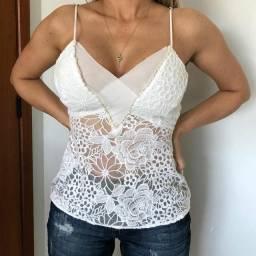 Blusa rendada Colcci branca P