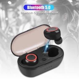 Fone de Ouvido sem Fio Bluetooth V5.0/Headphone Earbud Esportivo com Microfone