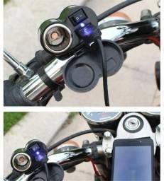 Título do anúncio: Carregador 12v Para Moto Usb Carrega Celular/gps + Acendedor - Loja Natan Abreu